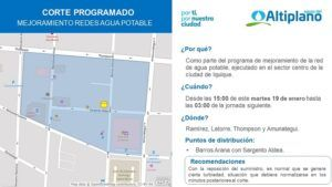 Aguas del Altiplano anuncia corte programado para sector centro de Iquique