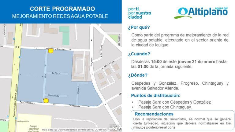 Hoy | Aguas del Altiplano anuncia corte programado para sector oriente de Iquique