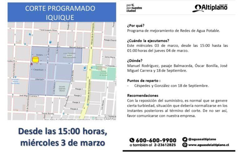 Aguas del Altiplano anuncia corte programado en Iquique