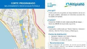 En el sector alto de Iquique : Aguas del Altiplano anuncia corte programado para obras de mejoramiento