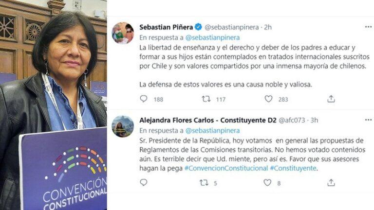 Constituyente Alejandra Flores tuiter del Presi y lo acusa de mentir